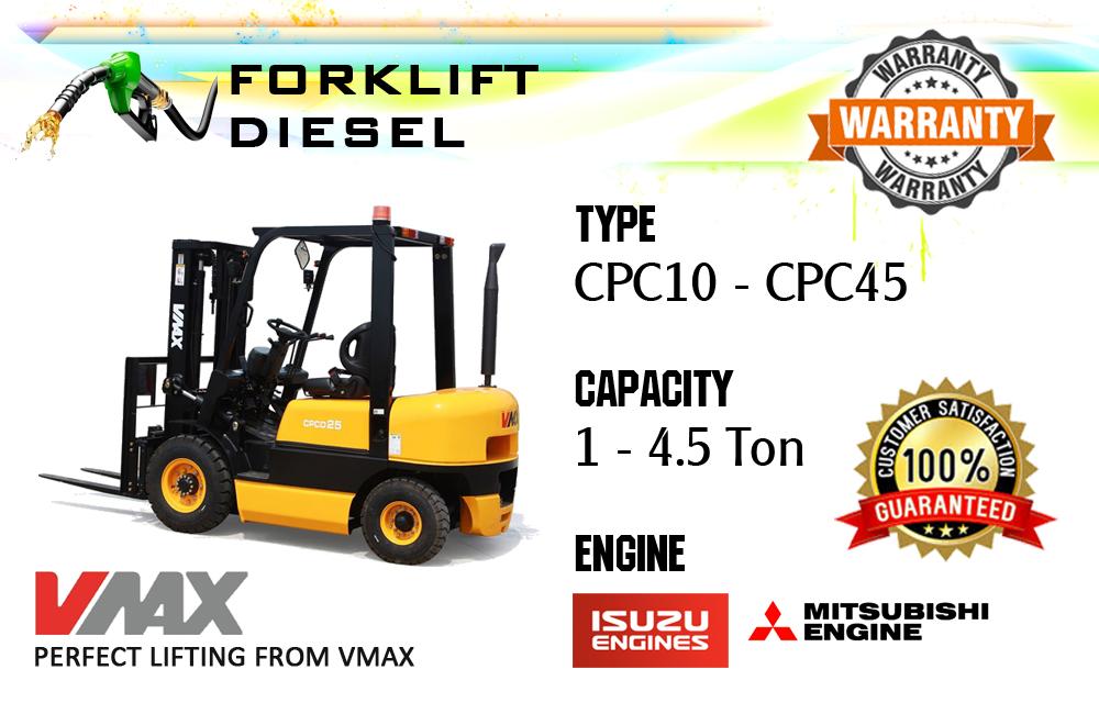Vmax Diesel Forklift 1-4,5 ton